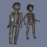 Antique Doll Set TWO Black Dolls Papier Mache Unusual Folk Art
