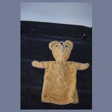 Old Teddy Bear Mohair Hand Puppet Glass Eyes