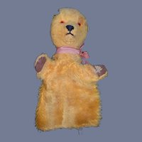 Old Mohair Teddy Bear Hand Puppet Glass Eyes