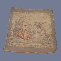 Old French Tapestry Wall Hanging Doll Rug Grogeous