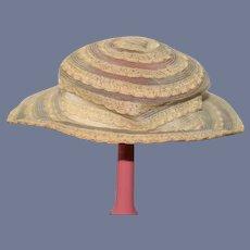 Old Fancy Doll Straw Hat Bonnet Wide Brim