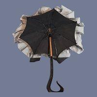 Wonderful Doll Old Petite Parasol Umbrella Ebony Carved Handle Wood Ornate