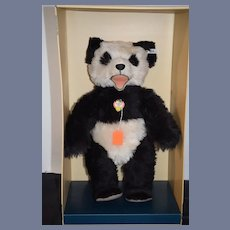 Vintage Steiff Teddy Bear Panda Bear Bar In Original Box Mohair Jointed EAN 408335