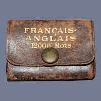 Old Leather Bound Miniature Book Lilliput Francais Anglais Doll Size