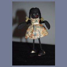 Old Black Wood Doll Unusual Folk Art Character