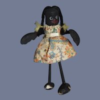 Old Black Wood Doll Unusual Folk Art Character