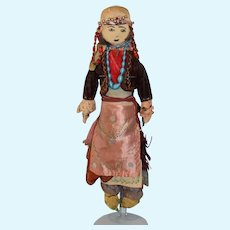 Wonderful Old Cloth Doll in Original Antique Clothing Drawn on Features