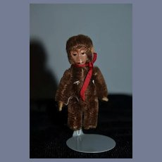 Old Miniature Mohair Monkey W/ Tin Face Schuco Jointed