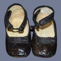 Wonderful Antique Shoes for Doll Leather W/ Bows on Top 1907