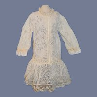 Sweet Old Lace Doll Dress Drop Waist Threaded Ribbon