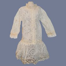 Sweet Old Lace Doll Dress Drop Waist Threaded Ribbon