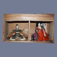 Old Oriental Doll Set in Old Wood Box Theater Charming