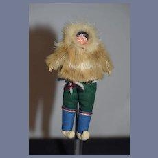 Old Doll Eskimo Carved Wood Head Fur Petite Size