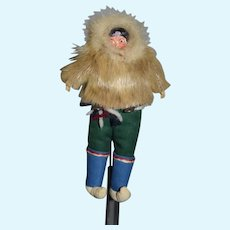 Old Doll Eskimo Carved Wood Head Fur Petite Size