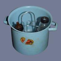 Old Enamel Baby Doll Bottle Warmer W/ Evenflo Glass Bottle Anesco