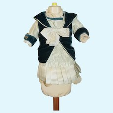 Wonderful Doll Dress French Market Hand Made W/ Antique Material