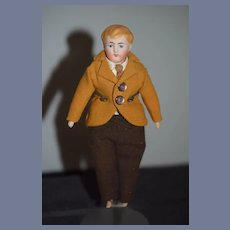 Antique Doll Dollhouse Man China Head Miniature