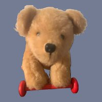 Sweet Vintage Teddy Bear Pull Along Toy ON Wood Plank  Wood Wheels Doll Ride on