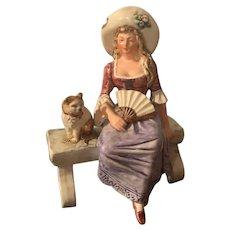Antique Figurine Lady on Bench W/ Cat Wonderful