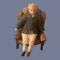 Antique Doll Bisque Head China Head Boy Doll Miniature Dollhouse
