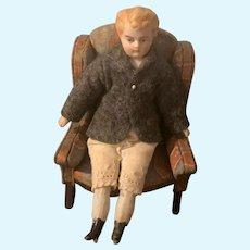 Antique Doll Bisque Head China Head Boy Doll Miniature Dollhouse