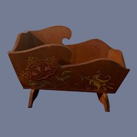 Wonderful Old Miniature Doll Dollhouse Tole Painted Wood Doll Cradle From THE EMPORIUM Department Store