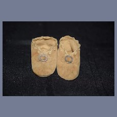 Old Suede Doll Shoes w/ Buckles and Bows Sweet