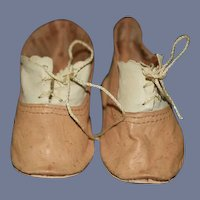 Sweet Old Leather Lace up Two Tone Doll Shoes