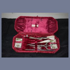 Wonderful Old Miniature Sewing Kit In Original Velvet Hinged Box Accessories