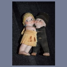 Old Bisque Kewpie Bride and Groom W/ Crepe Clothes Miniature