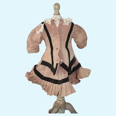 Old Doll Plaid Drop Waist Covered Buttons Lace & Velvet Trim