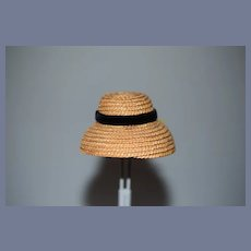 Sweet Vintage Doll Straw Bonnet Hat W/ Black Velvet Bow Petite Size