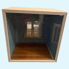 Wonderful Old Glass Front Room Box W/ Glass Front and Window Hardwood Floors Miniature Diorama Dollhouse