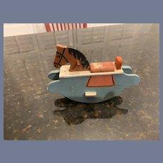 Wonderful Miniature Doll Old Rocking Horse Dollhouse Painted Sweet