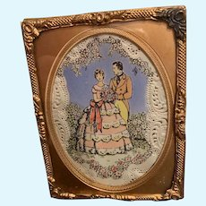 Antique Miniature Doll Gilt Frame W/ Glass Front and Sweet Print