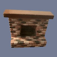 Wonderful Vintage Terra-Cotta Brick Wood Miniature Doll Fireplace Dollhouse