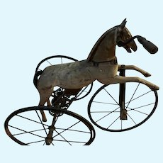 Antique Auguste Reidemeister French Tricycle Horse Doll Child 1860