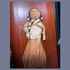 Old Cloth Doll Indian Doll Folk Art W/ Leather & Beads Unusual
