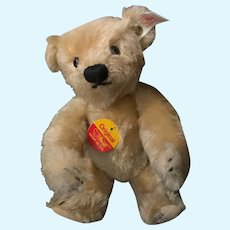 Vintage Teddy Bear Mohair Jointed 665325 Signed Button Tag Chest Tag Sweet Size