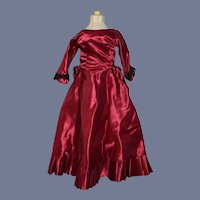 Vintage Doll Satin Fashion Doll Dress W/ Lace Trim Balloon Back