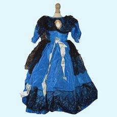 Sweet Vintage Doll Dress Fashion Doll Taffeta Black Lace  Fashion Doll