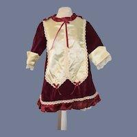 Vintage Velvet Satin Doll Dress French Market