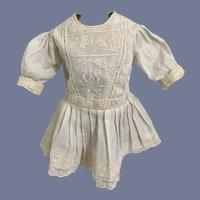 Old Doll Dress White Drop Waist Lace  Sweet