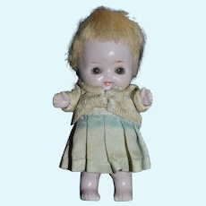 Antique Doll All Bisque Glass Eye Character Miniature Dollhouse