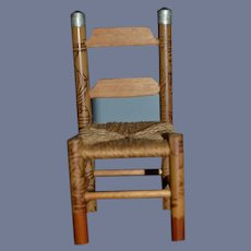 Vintage Doll Wood Chair Miniature Dollhouse Ladder Back W/ Decorations and Woven Seat
