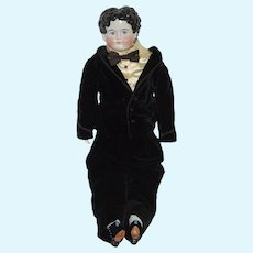 "Huge China Head Boy Doll Dressed Wonderful 33 1/2"" Tall"