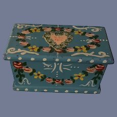 Wonderful Doll Miniature Painted Chest or Trunk Dollhouse Hand Painted Tole