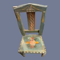 Wonderful Old Doll Painted Chair Miniature Dollhouse Tole Painted