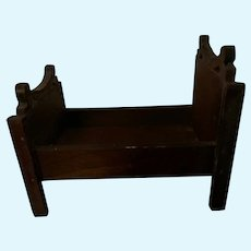 Old Wood Miniature Doll Bed Carved Wood Dollhouse Fancy