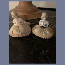 Old China Head Half Doll Pincushion Sets Sweet